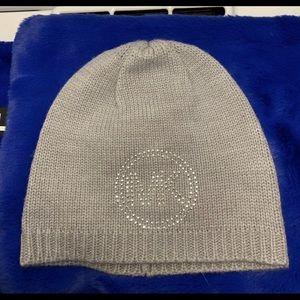 MICHAEL KORS  GREY MK Logo Knit  With Bling Beanie